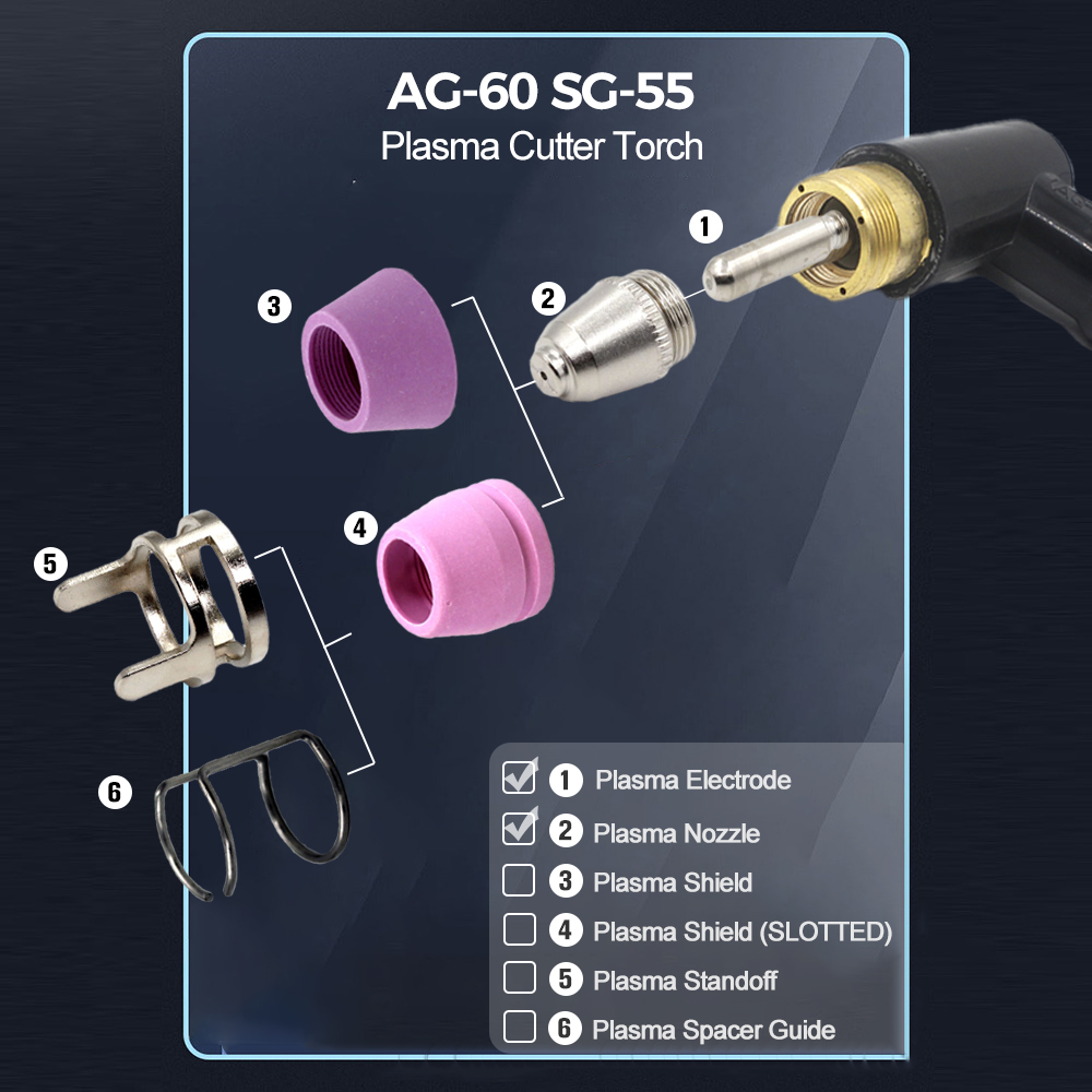 Tools : Taiwan SG-55   AG-60 AG60 plasma cutter torch consumables electrode nozzle tips 40 pcs package
