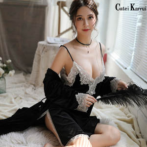 Sexy Pajamas Suspender-Nightdress-Set Two-Piece-Set Velvet Catei Karrui Women's New Autumn