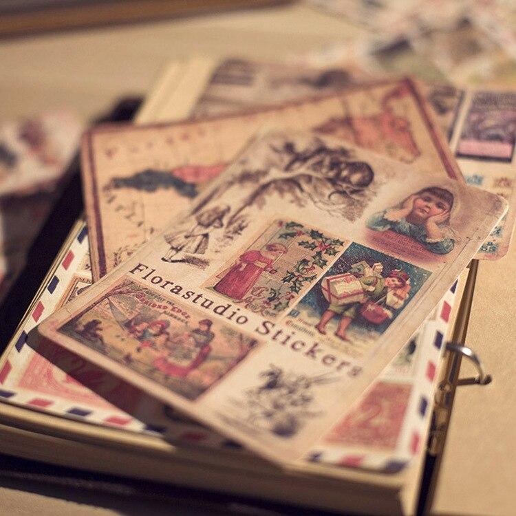 LOMO Vintage Sticker Set, Retro Stamp Post Scrapbooking Stickers 10sheets/pc