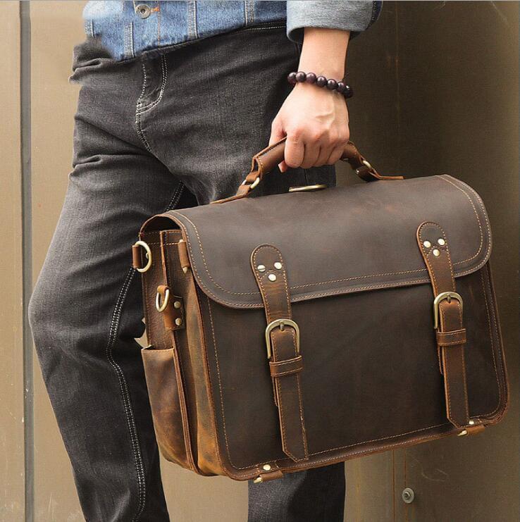 Genuine Leather Men Handbag Vintage Crazy Horse Leather Messenger Bag 15.6