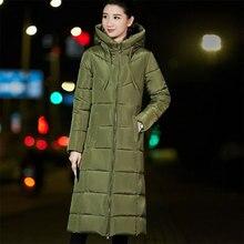 Inverno quente mais grosso para baixo jaqueta feminina casual longo com capuz com zíper para baixo casacos senhoras vogue outerwear 6xl tamanho grande pena sintética