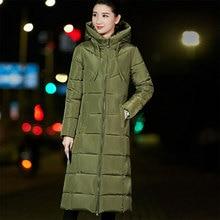 Winter Warm Dikkere Donsjack Vrouwen Casual Lange Hooded Zipper Down Jassen Dames Vogue Bovenkleding 6XL Big Size Synthetische Feather