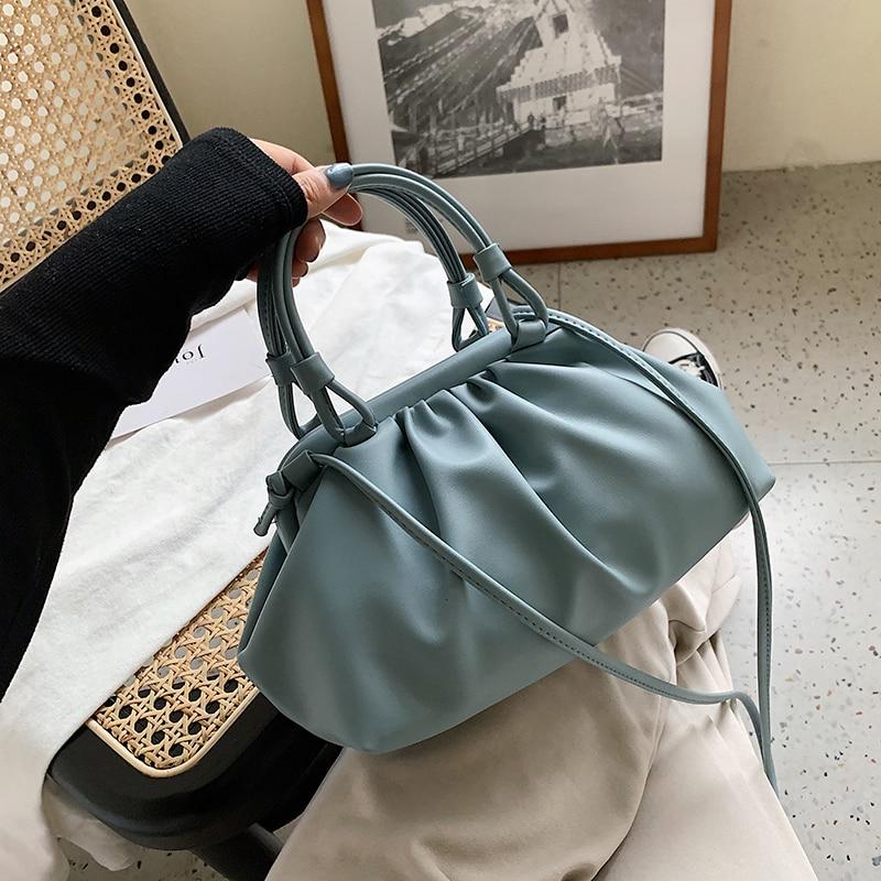 Cloud Bag With  Shoulder Handle Design Small PU Leather Crossbody Bags For Women 2020 Summer Female Elegant Shoulder Handbags