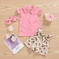 Cute Baby Girl Clothes Sets Summer Casual Thin Slim Vest Flare Sleeve Solid Tops Flower Shorts Free Headband Kids Outfits Set