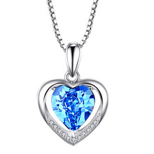 WEARLIKES Silver pendant necklace for women real pure 925 sterling silver  Zircon Ocean Heart  Crystal Pendant   fashion Jewelry elegant crystal zircon pendant necklace silver white red