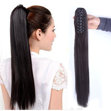 Chic Women's Long Straight Synthetic Claw Ponytail Extension Clip on Hair Tail Extensions Black Brown Blonde Color