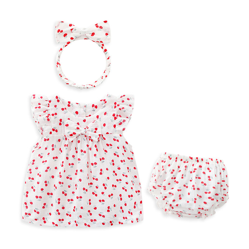 3pcs summer toddler dress baby girl clothes Summer New Baby Dress Suit Princess Dresses fashion version lol vestidos headband in Dresses from Mother Kids