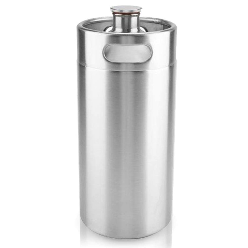 Portable Mini Keg Style Stainless Steel Beer Homebrew Barrel with Cover Beer Craft Barrel for Home Hotel Supplies(3.6L) image