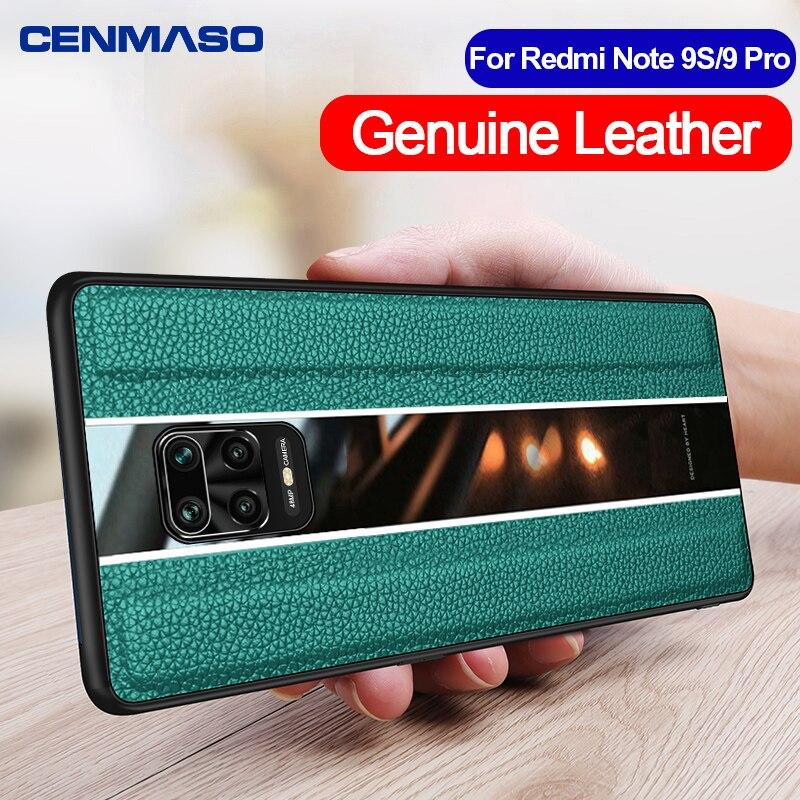 For Redmi Note 9S 9 8 Pro 9 S Case Original Genuine Leather for Xiaomi Mi Note 10 Pro Case Full Protection Soft Silicone Cover
