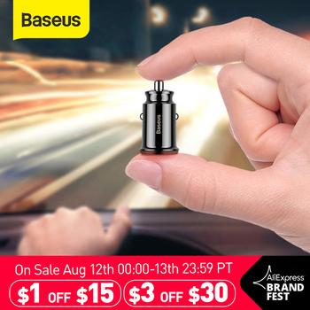 Baseus ładowarka samochodowa do telefonu komórkowego 3 1 szybka ładowarka Mini ładowarka podwójna ładowarka USB szybka ładowarka przenośna ładowarka do XiaoMI tanie i dobre opinie ROHS Brak wsparcia CN (pochodzenie) 2 porty A car charger Gniazdo zapalniczki samochodowej Dual USB Car Charger Black White