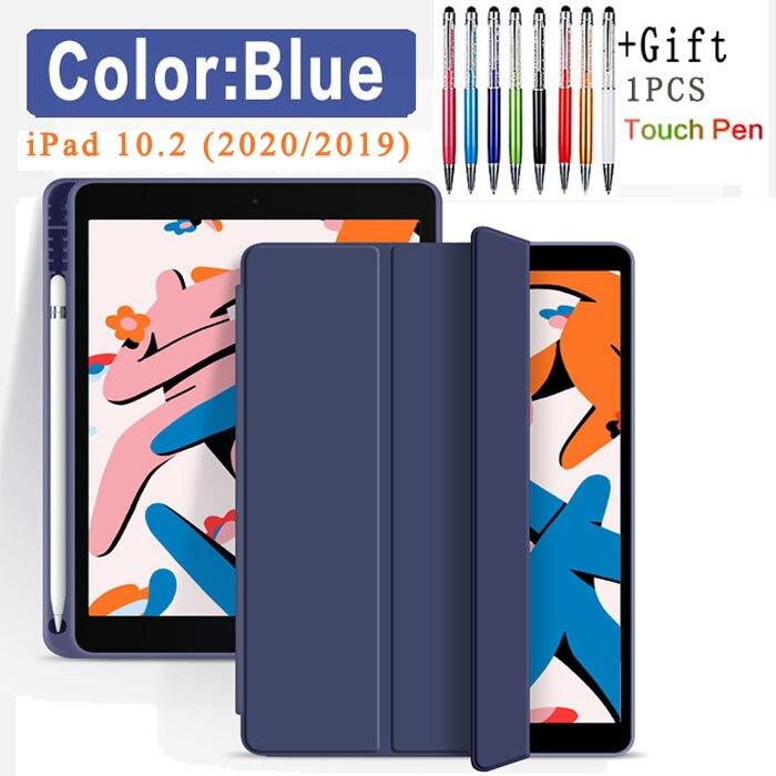 Flip Case-Dark blue Black Funda Case For Apple iPad 10 2 2020 2019 flip Case with Pencil Holder For iPad