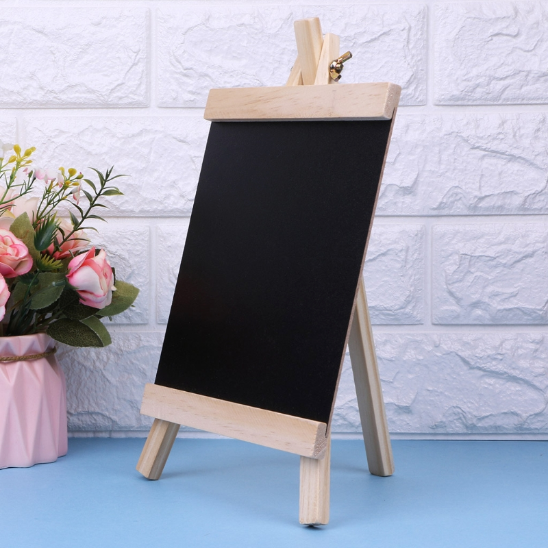 Desktop Message Blackboard Easel Chalkboard Kids Wood Writing Boards Collapsible R9UA