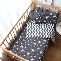 Conjunto de cama para bebês 3 peças  jogo de cama para bebês recém-nascidos com estampa de estrela  roupa de cama para menino  berço de tecido de algodão puro folha de almofadas