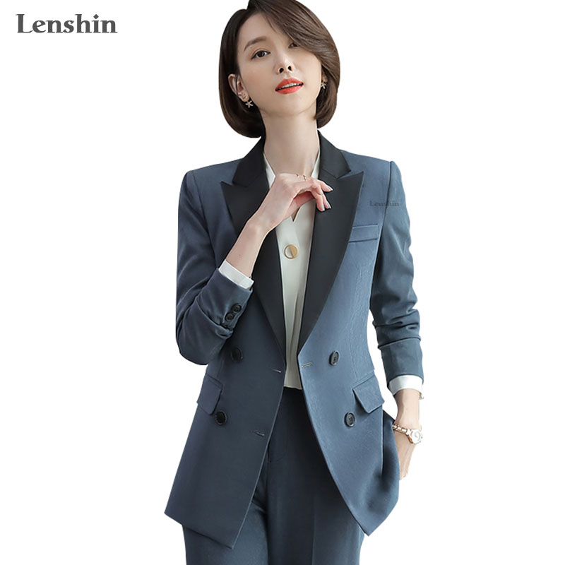 Lenshin Double-breasted 2 Pieces Set Elegant  Formal Pant Suit For Women Work Wear Office Lady Style Business Jacket With Pants