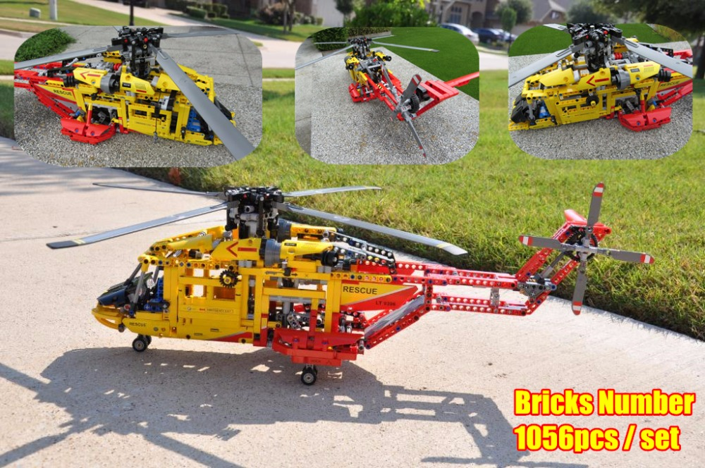 New 3357 City Rescue helicopter Deformable fit technic city plane model building blocks bricks diy Toy