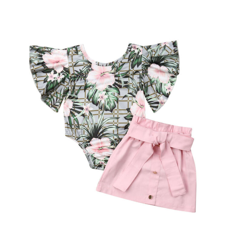 2020 Summer New Baby Girl Kid Clothes Set Floral Toddler Ruffle Romper Top+Skirt 2PCS Set Outfits Clothes 1-4T