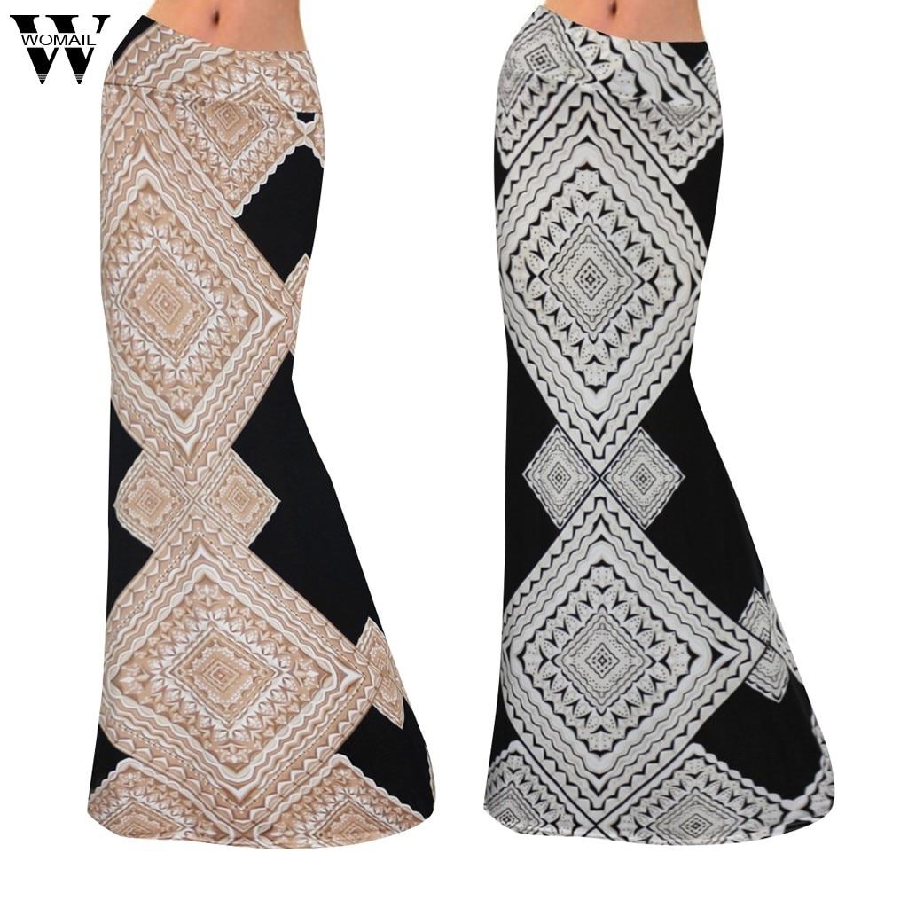 Womail Women Skirt Summer Sexy Fashion High Waist Stitching Print Bandage Slim Skirt Bodycon Long Mixi Skirt Casual Holiday 828