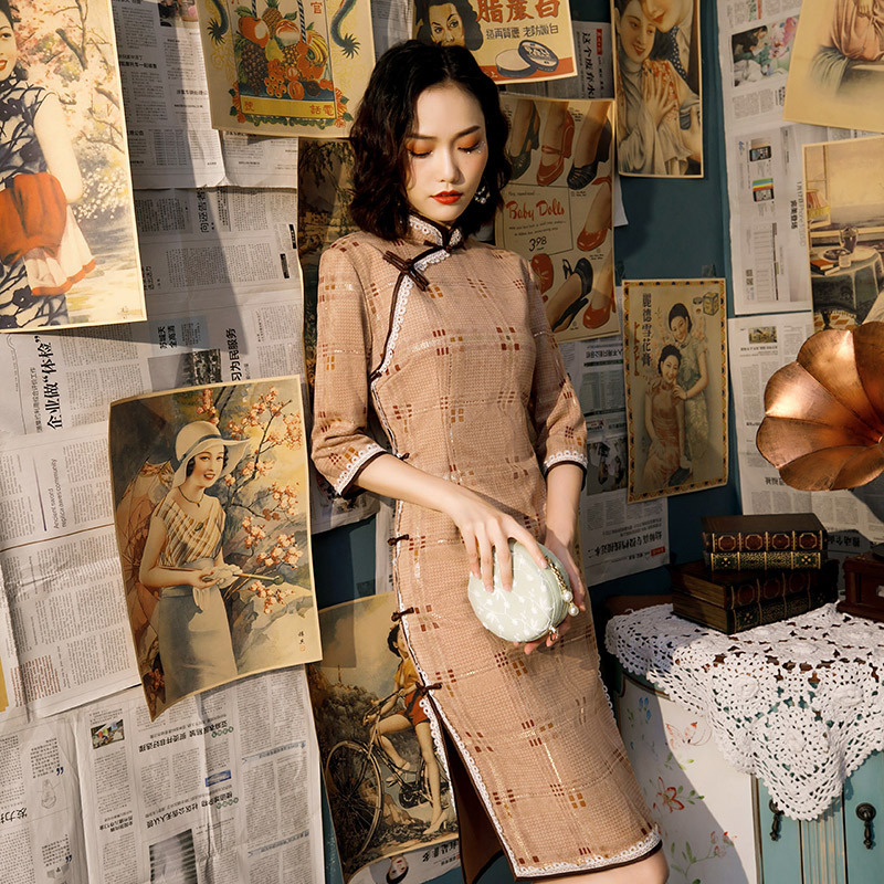 SHENG COCO Chinese Traditional Dress For Women Cheongsam Long Sleeve Oriental Elegant Vestido Chines Daily Casual Dress Autumn