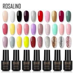 ROSALIND Gel esmalte de uñas Arco Iris colores para uñas arte manicura UV LED con Base superior para barnices de gel de polietileno