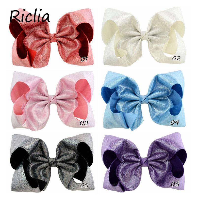 Riclia 10 unids/lote niños horquillas lentejuelas sólido niño horquillas gran lazo ropa de cabeza moda 6 colores Bowknot chicas cabeza