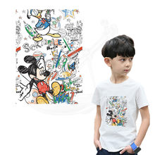 Children Mickey graffiti thermal stickers on clothes DIY T-shirt hoodie iron on patches(China)