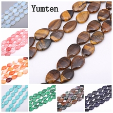 Yumten Pear Shape Tiger Eye Beads 13mm*18mm Loose Furong Stone Malachite Aquamarine Amethyst DIY Jewelry Necklace Beaded