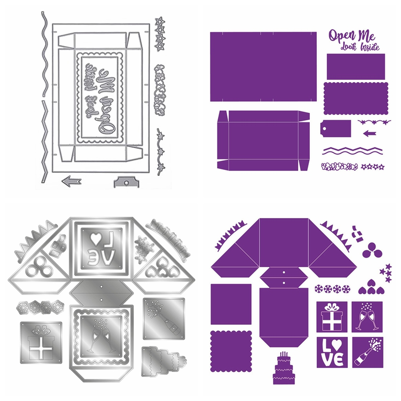 Confetti Box Die Pop-Up Confetti Cube Metal Cutting Dies For Scrapbooking Craft Die Cut Card Making Embossing Photo Album