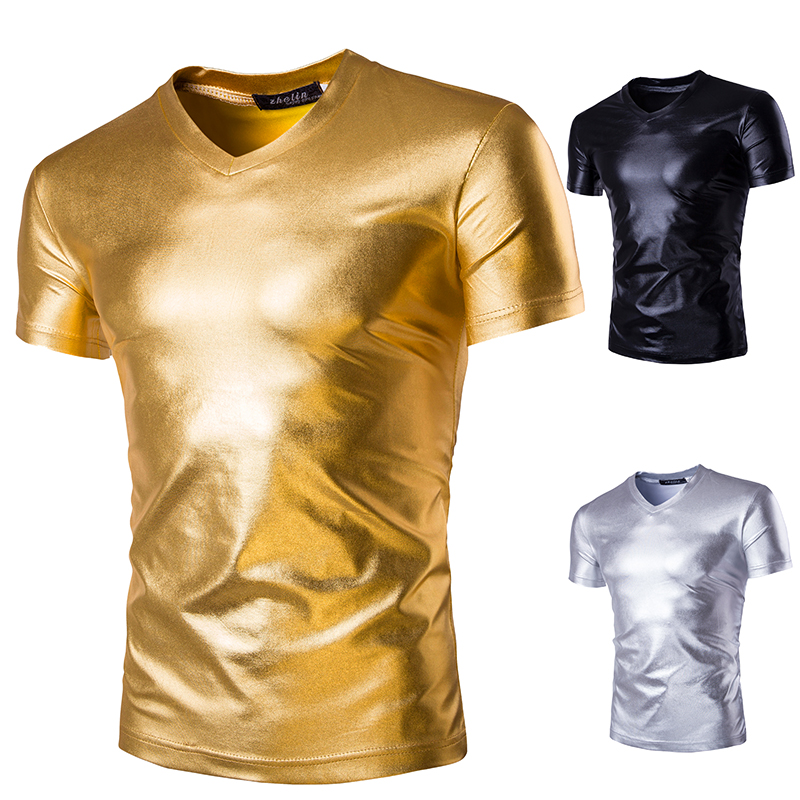 Men's T-shirt, V-collar, Solid-color, Bright-faced Nightclub Costumes, Fashionable And Sexy Men's Short-sleeved T-shirt