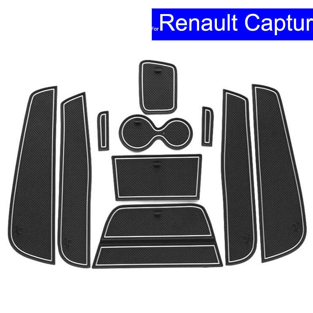 <font><b>10</b></font> <font><b>Pcs</b></font> Non-slip Car Door Gate Slot Mats Carpets Position Cup Holder Pads For <font><b>Renault</b></font> Captur Door Groove Mat Free Shipping image