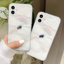 Clouds Rainbow Phone Case For iPhone 11 12 Pro MAX XS X XR 7 8 Plus 12 Mini SE 2020 Soft Shockproof Clear Back Cover