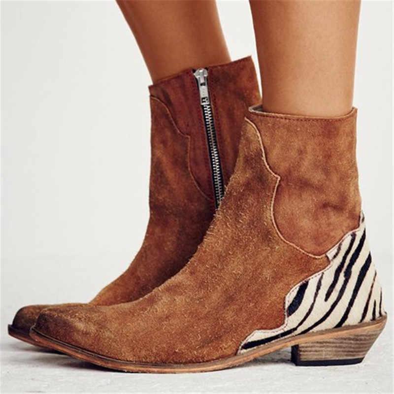 MoneRffi kadın ayakkabı 2019 seksi leopar sivri burun yarım çizmeler fermuar Zebra desen derin düz topuk çizmeler bayan ayakkabıları bayan botları