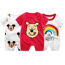 Mickey śpioszki dla niemowląt Cartoon Baby Boy ubrania dla dzieci kombinezon chłopcy letnie Onesie niemowlę dziewczynek ubrania Disney noworodka Bebes tanie tanio COTTON Poliester CN (pochodzenie) Unisex W wieku 0-6m 7-12m 13-24m O-neck Swetry Pajacyki Krótki YCWJ-1201 Pasuje prawda na wymiar weź swój normalny rozmiar