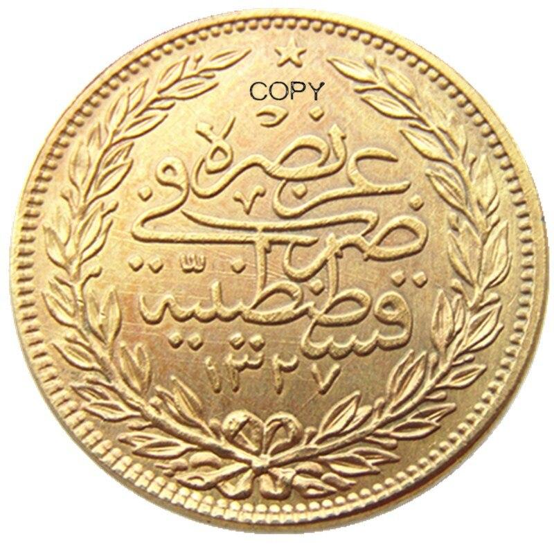 Оттоманская Империя, 1915,Mehmed V., тяжелая позолоченная копия 100 Kurush, монета (22 мм)