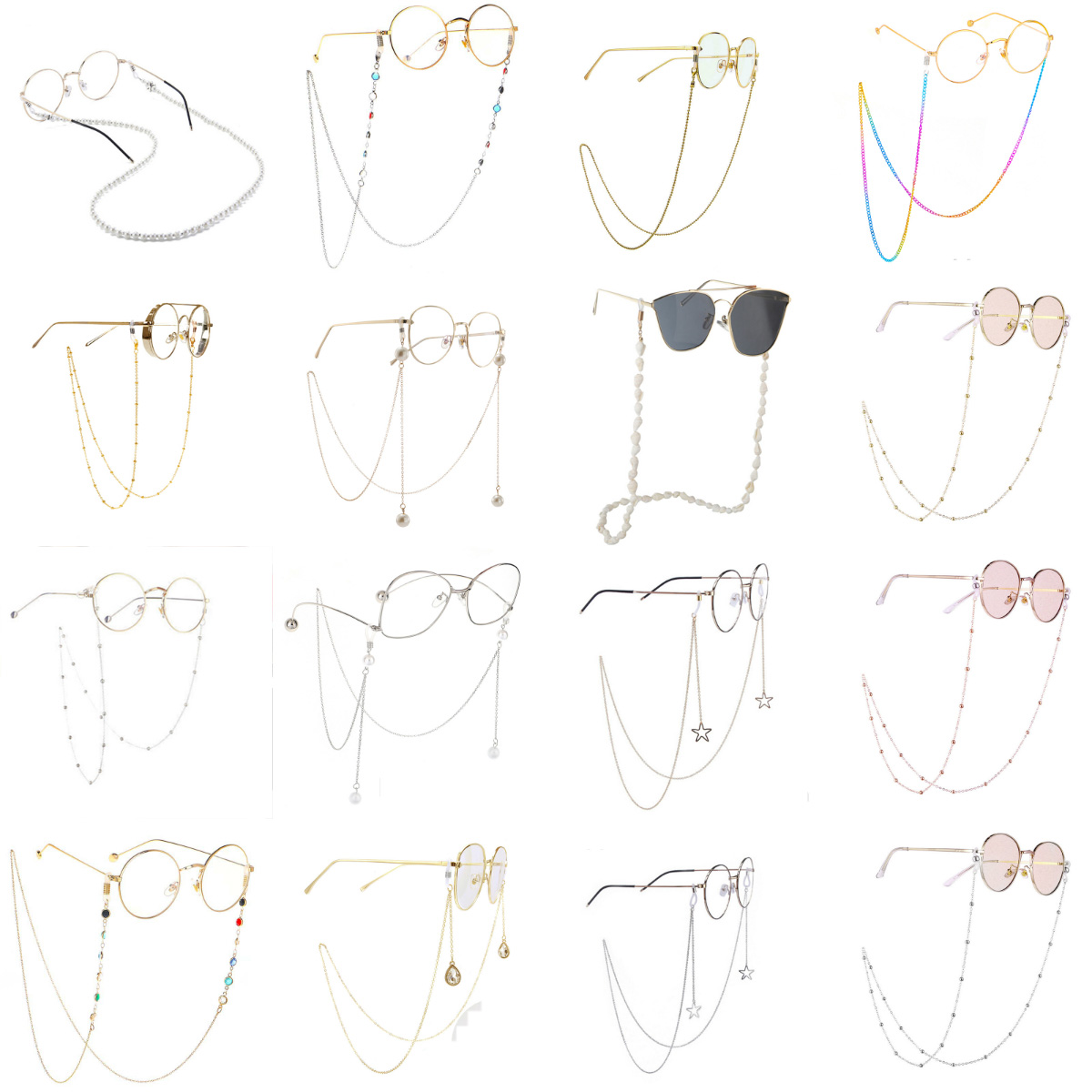 Fashion Chic Womens Gold Silver Eyeglass Chains Sunglasses <font><b>Reading</b></font> Beaded <font><b>Glasses</b></font> Chain Eyewears Cord Holder Neck Strap Rope image