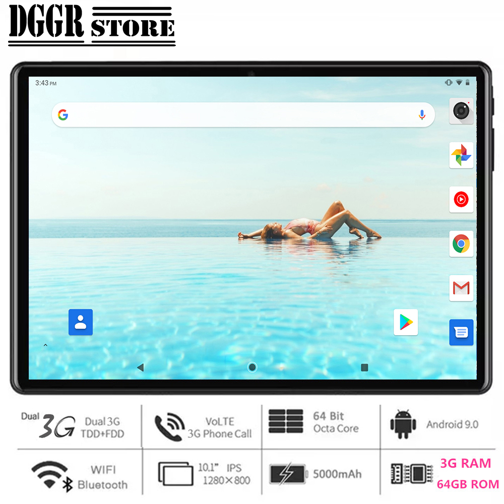 NEW 2020 Global Version 10 inch tablet PC 3GB RAM 64GB ROM Octa Core 1280*800 IPS Dual SIM Card 3G WCDMA Wifi Android 9.0 OS
