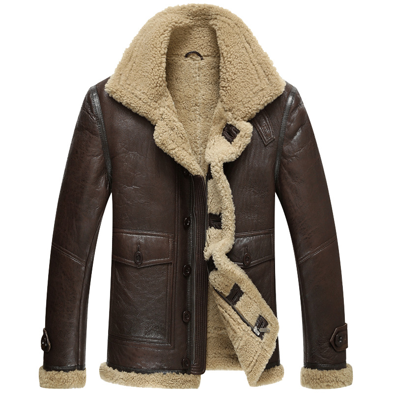 Genuine Leather Winter Jacket Natural Real Sheepskin Coat For Men Lamb Fur Bomber Jackets Plus Size 185-1 MY1884