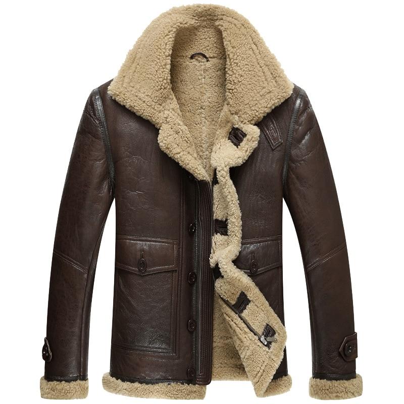 Jaqueta de inverno de couro genuíno natural