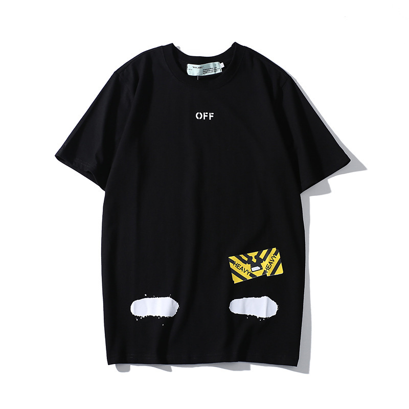 Popular Brand Off Short Sleeve Ow White Ink Stripes T-shirt Men And Women Summer Graffiti Pure Cotton Half Sleeve Couple Clothes