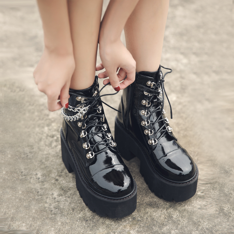 Women Ankle Boots Platform Zip Punk Style Gothic Shoes Dropshipping Center Goth Winter Lace-up Booties Chunky Heel Chain 2021