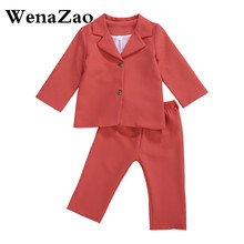 Kids Blazers Jacket Suit-Set Toddler Baby-Girl Infant Classic Solid Leg-Trousers Button