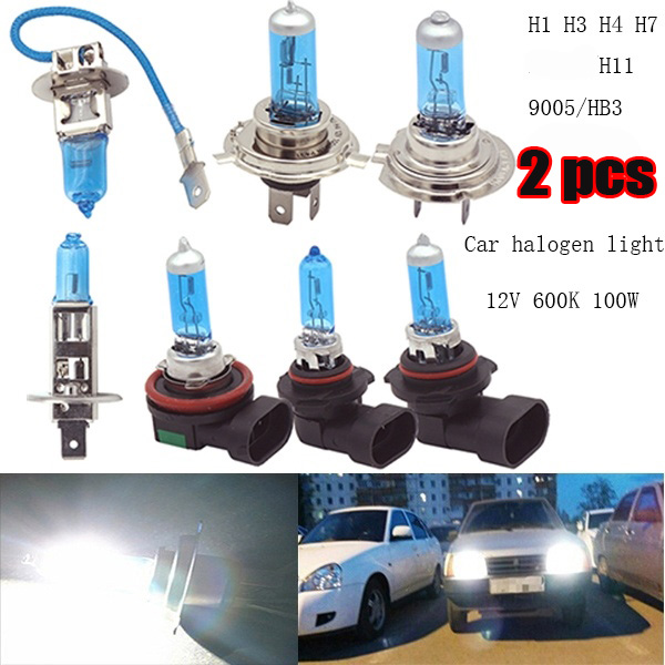 2pcs H1 H3 H4 H7 H11 HB3 9005 100W 6000K Super Bright White Car Light Halogen Lamp Bulb Car Styling Headlight Fog Lights