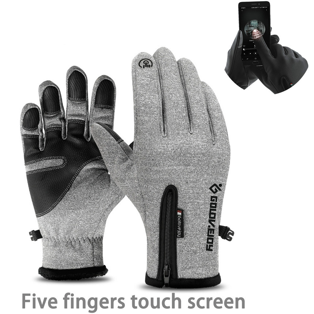 Men Ski Waterproof Gloves Cycling Winter Outdoor Warm Snowmobile Skiing Five Fingers Touch Screen Anti-slip Cycling Gloves Women