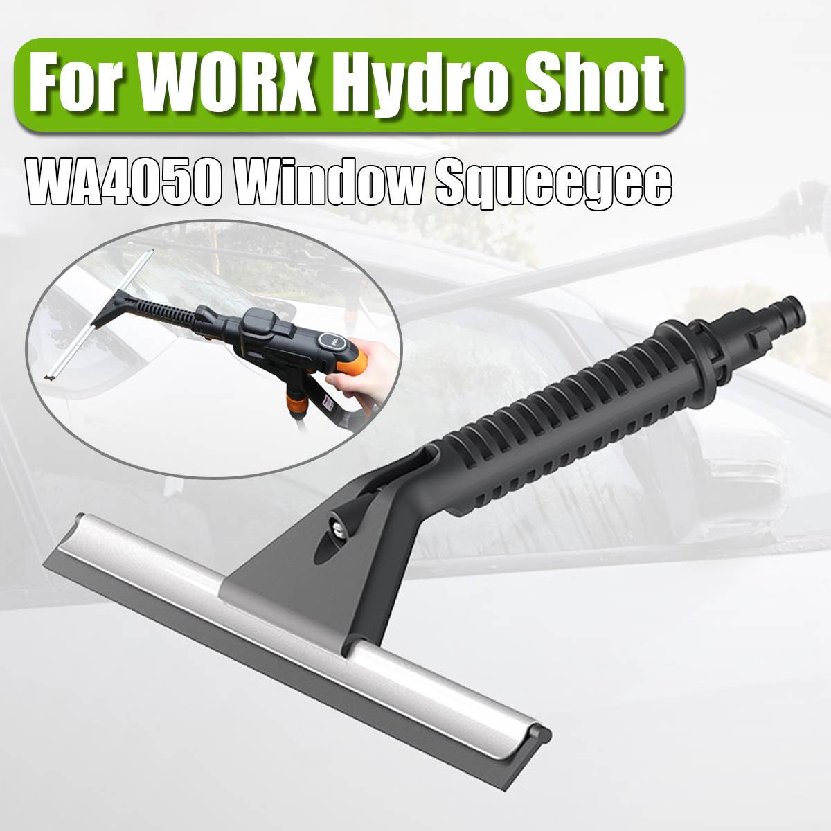 Black Window Squeegee With Water Sprayer Accessory For WORX WA4050 Car Washer