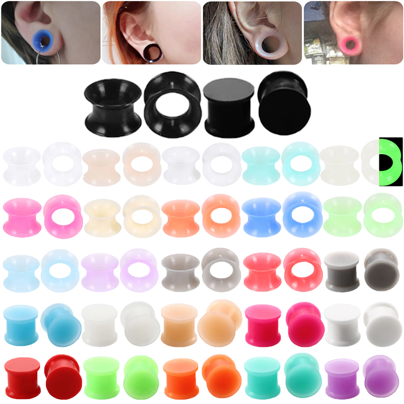 3-16mm 1 Pair Silicone Ear Plug Piercing Double Flared Hollow/Solid Gauges  Ear Stretcher Expander Earring Piercing Body Jewelry