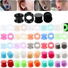 3-16mm 1 par de silicone plug piercing duplo queimado oco/calibres sólidos orelha maca expansor brinco piercing jóias do corpo
