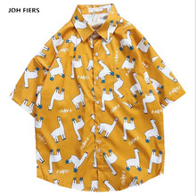 2019 Animal Printed Shirts Men Summer Short Sleeve High Quality Streetwear Hip Hop Beach Hawaiian Vintage