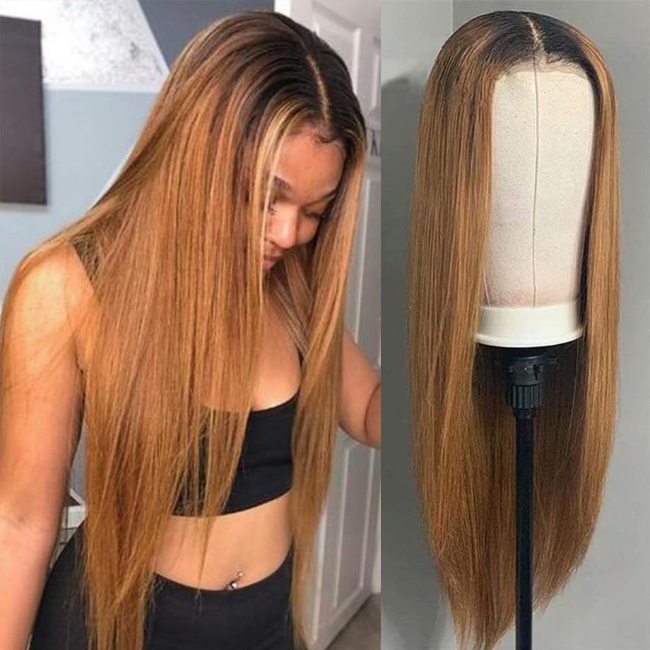 Ombre Lace Front Wig Bone Straight  Wigs  30 Inch Lace Wig   4x4 Bob Closure Wig 1
