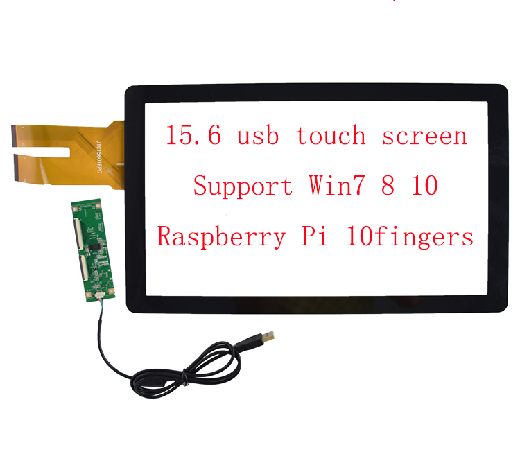 15.6 Inch G+G USB Capacitive Touch Screen Sensor Digitizer Industrial Computer 10Fingers Touch Support Raspberry Pi Win10