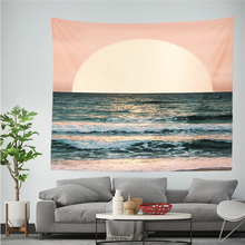 Sunset Beach Ocean Tapestry Waves Pattern Printe Polyestry Wall Cloth Tapestries Bohemia Nordic Beach Throw Blanket Home Decor