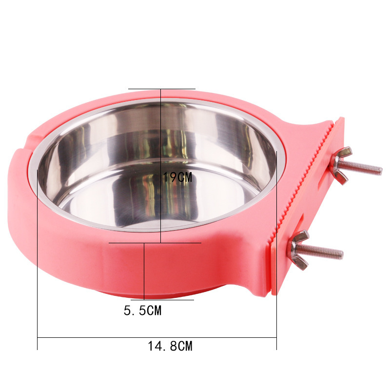 Pet Bowl Hanging Stainless Steel Plastic Dog Bowl Tableware Bowl Feeder Fixed Hanging Bowl Drinking Bowl Doggie Bowl